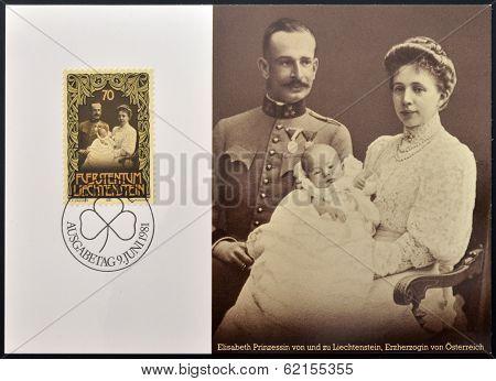 A stamp printed in Liechtenstein shows Prince Franz Josef with his parents