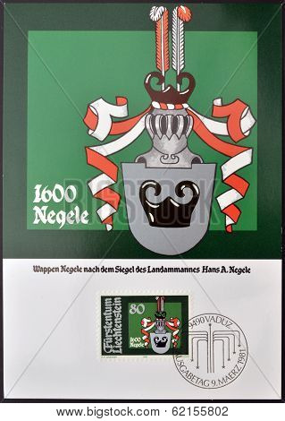 A stamp printed in Liechtenstein shows Arms of Hans Adam Negele