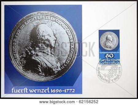 stamp dedicated to coin and medals shows Prince Josef Wenzel of Liechtenstein