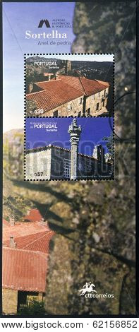 stamp dedicated to the historic villages of Portugal shows Sortelha stone ring