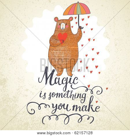 Concept romantic card with cute bear and the rain made of hearts. Bright invitation card in vector