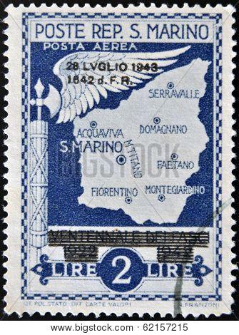 A stamp printed in San Marino shows map of San Marino