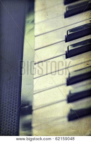Close up of piano keys, vintage photo