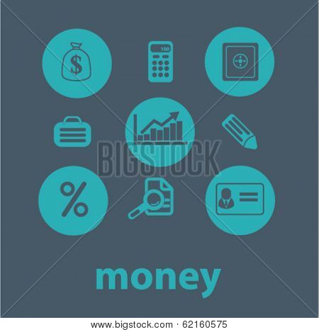 money flat icons set  for digital web, print, design, mobile phone apps, vector