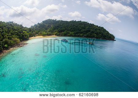 Aerial view of tropical island of Koh Wai, Thailand