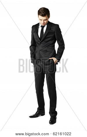 Young Businessman Looking Down