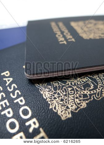 Passport travel documents isolated on white