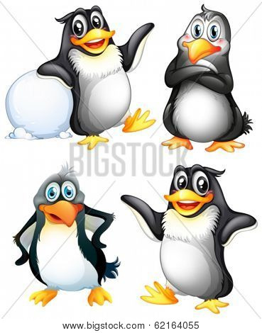 Illustration of the four playful penguins on a white background
