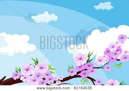 Illustration of a view of the beautiful sky with clouds