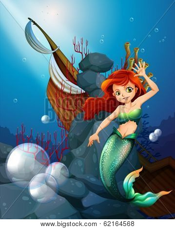 Illustration of a sea with a mermaid near the wrecked boat