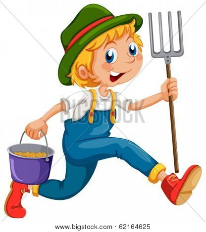 Illustration of a gardener running with a rake and a pail on a white background