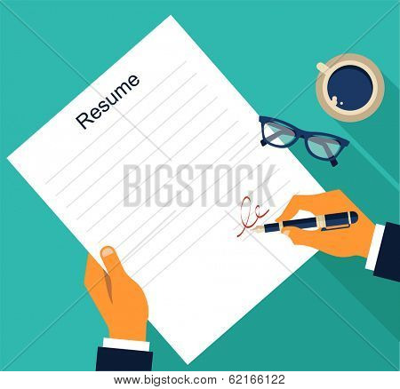Business background with resume, vector