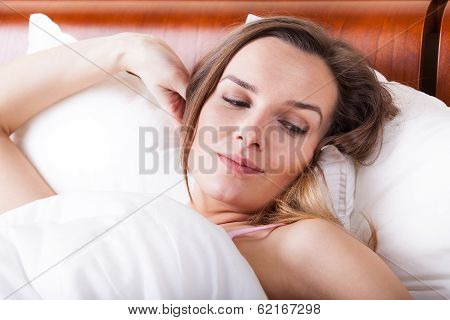 Awoken Woman In Bed