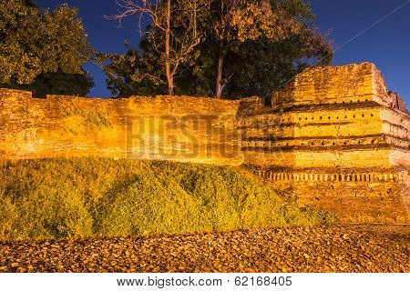 Night Of Chiangmai Moat And Ancient Wall With Ghost ,thailand