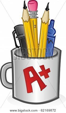 Mug of Pencils Pens Crayons and Markers