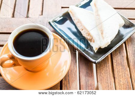 Hot Coffee Cup And Sandwiches