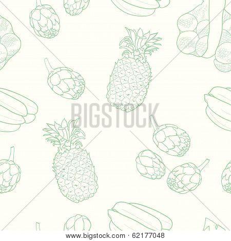 Fruits and artichoke pattern