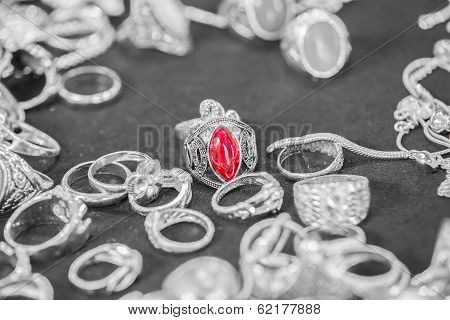 Silver Ring With Red Stones (ruby)