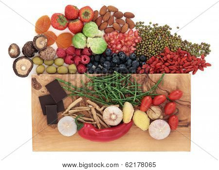 Super food health food selection over white background.