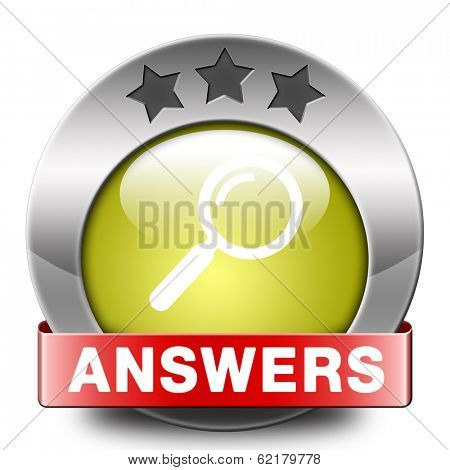 find answers indicating way to solve problems answer button answer icon search answer and discover truth text and word concept