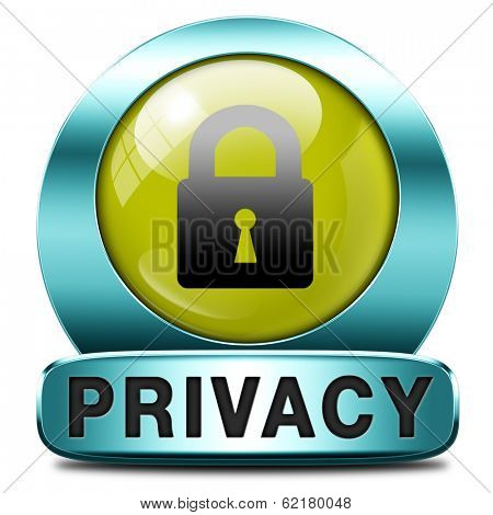 privacy button or icon protection of personal online data or confidential information, password protected info