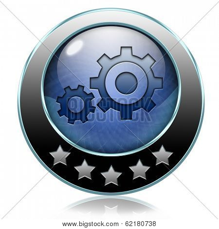 Demo download button or icon for free trial demonstrationsettings Cogwheel gear mechanism vector change or reset setting icon