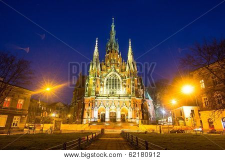 KRAKOW, POLAND - MAR 26, 2014: Church Joseph on night time - a historic Roman Catholic church in south-central part of Krakow. Was built 1905-1909y and designed by Jana Sas-Zubrzyckiego.