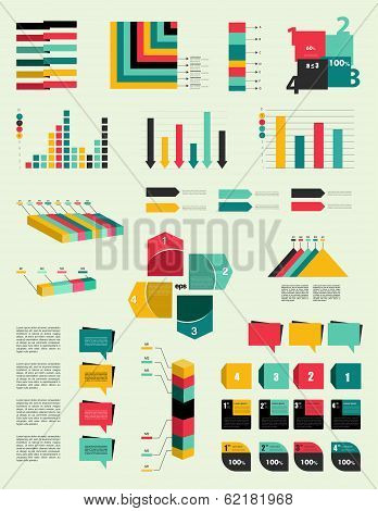 Set of infographic elements. Collection of graphs, charts, speech bubbles, arrows, text fields. Circ