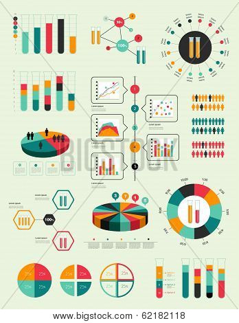 Flat infographic collection of charts, graphs, speech bubbles, schemes, diagrams. Trend color set. C