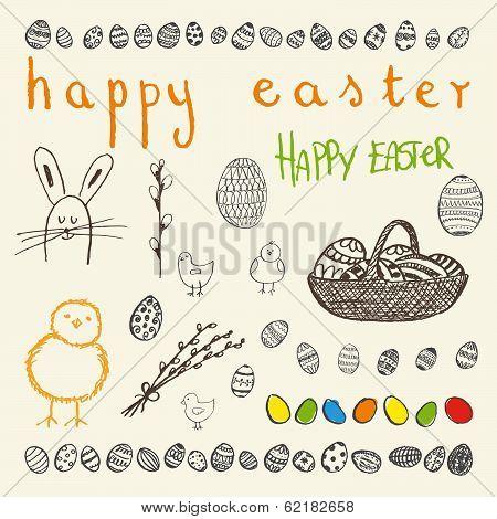 Doodle Vector Easter Set.