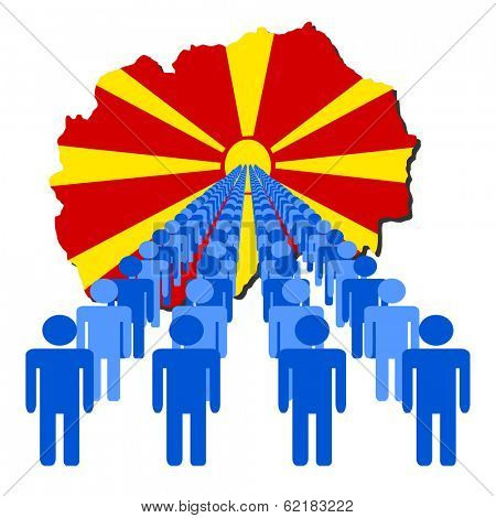 Lines of people with Macedonia map flag vector illustration