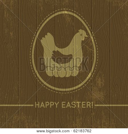Wooden Background With Easter Eggs And Hen, Vector