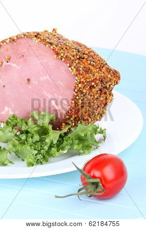 Bloated Beef On White Plate And Tomato