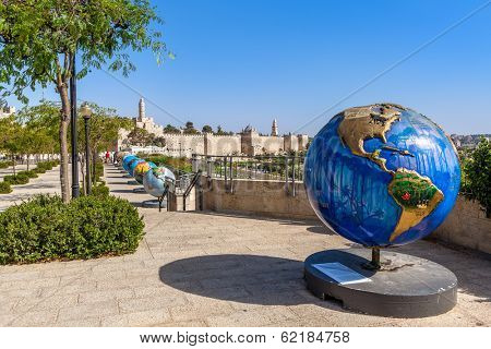 JERUSALEM, ISRAEL - AUGUST 21, 2013: 18 globes in Old City of Jerusalem as part of Cool Globes open air public art project show ideas for solutions and raise awareness for problem of global warming.