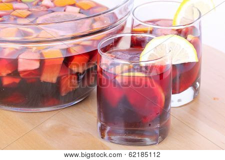 Sangria In Glass Bowl On Wooden Board