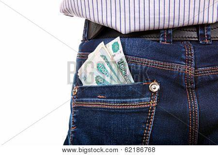 Russian Currency In The Back Pocket