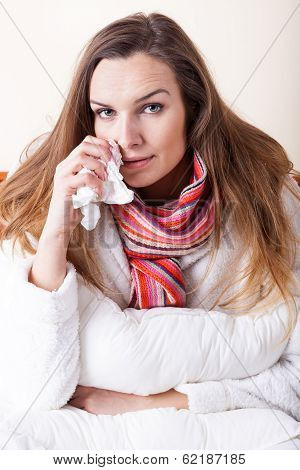 Ill Woman With Tissue