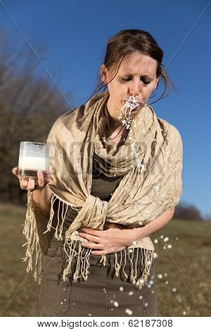 Young Woman Has A Lactose Intolerance