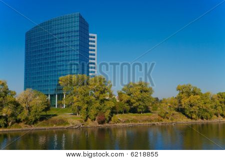 Modern Building On River