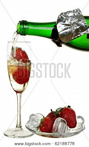 Bottle of champagne, wine, strawberry and ice isolated on a white background.