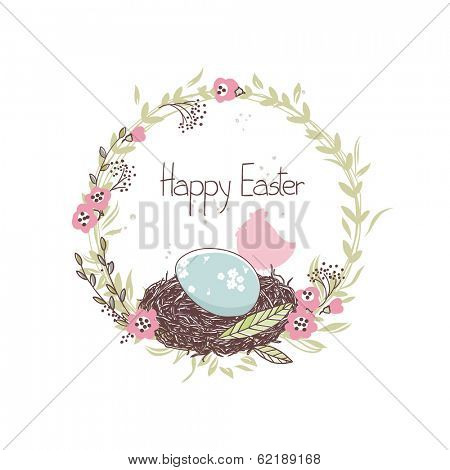 easter card with floral wreath and nest