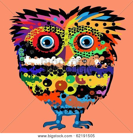 Owl, vector illustration, illustration for t-shirt, illustration for children (a series of popular hipster-characters)