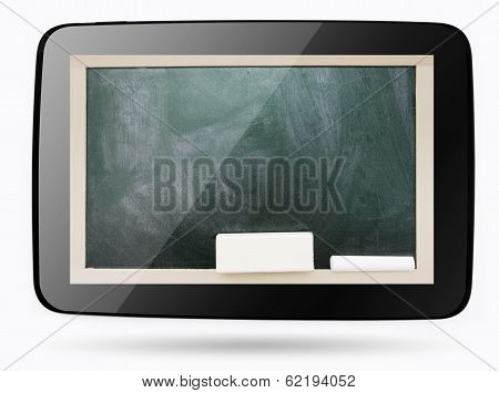 Empty Smudged With Calk Blackboard Inside Computer Tablet, Isolated