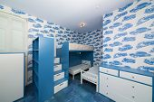 image of bunk-bed  - Modern blue childrens bedroom with bunk beds - JPG