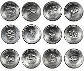 set of 12 coins CHINESE HOROSCOPE. 10 shillings Republic of Somalia CIRCA 2000 year, OX, RAT, RABBIT