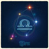 image of libra  - Vector constellation Libra with Zodiac sign - JPG