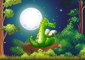 Illustration of a crocodile reading in the middle of the forest