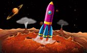 stock photo of outerspace  - Illustration of a rocket and planets at the outerspace - JPG
