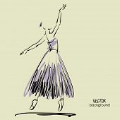stock photo of tutu  - art sketched beautiful young ballerina with long tutu in the ballet pose - JPG