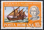stamp shows Bust of Columbus and ship La Niña 500th Anniversary of Discovery of America